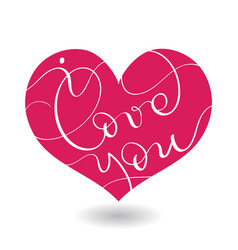 I love you text in red heart calligraphy vector