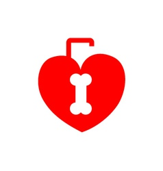 Red heart shaped lock with a bone shaped keyhole vector