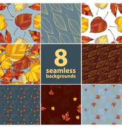 Set of eight autumn leaves backgrounds vector