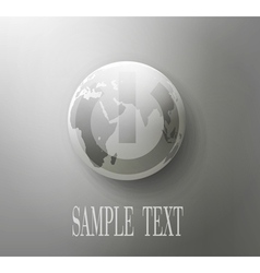 Gray button with the globe concept vector