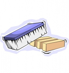 Soap and brush vector