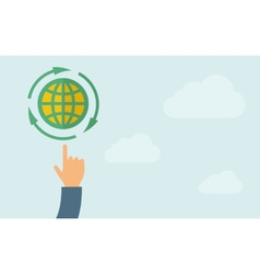 Hand pointing to globe icon vector