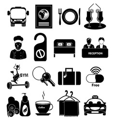 Hotel travel icons set vector