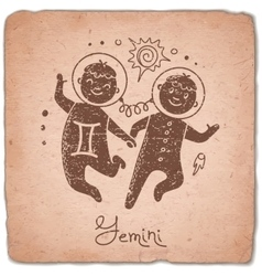Gemini zodiac sign horoscope vintage card vector