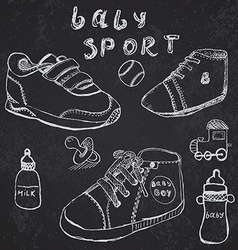 Baby shoes set sketch handdrawn on blackboard vector
