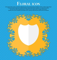 Shield sign icon protection symbol floral flat vector