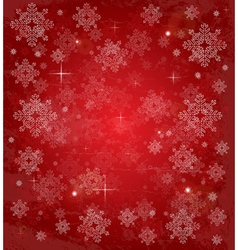 Christmas card with white snowflakes on red vector