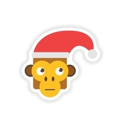 Stylish paper sticker on white background monkey vector