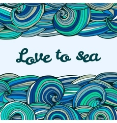 Color doodle texture swirl summer sea inscription vector