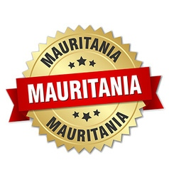 Mauritania round golden badge with red ribbon vector