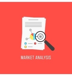 Market analysis with sheets and magnifier vector