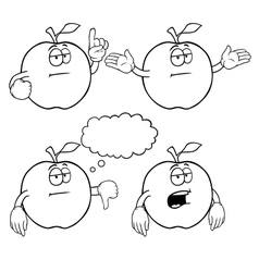Black and white bored apple set vector image vector image