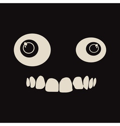 Black background with cartoon eyes and crooked vector