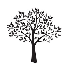 black tree and leafs vector image