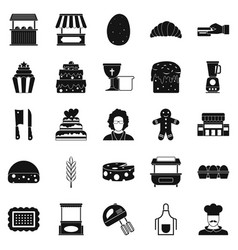 Cakes icons set simple style vector