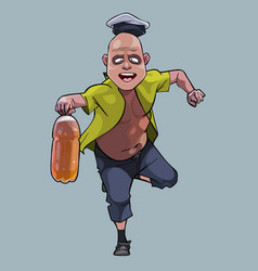 Cartoon funny man running with a plastic bottle vector