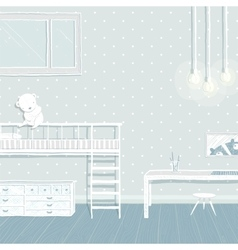 Children boys room in blue background design vector image vector image