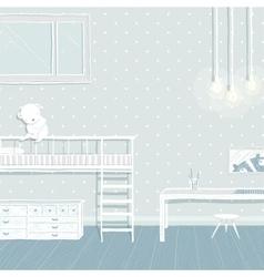Children boys room in blue background design vector image