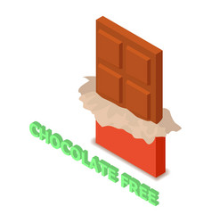 Chocolate allergen free icon isometric style vector