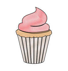 crayon silhouette of hand drawing color cupcake vector image