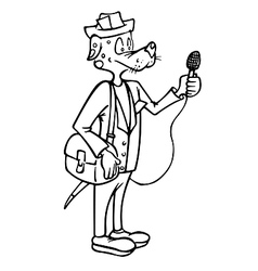 Dog reporter outline vector