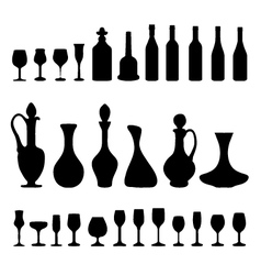 glasses and bottles 3 vector image vector image