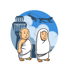 hajj kids and airport vector image vector image