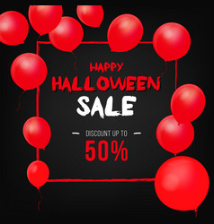 halloween background with red balloons vector image