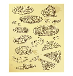 hand drawing set of pizza vector image