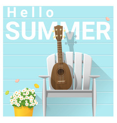 Hello summer background with ukulele vector
