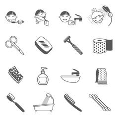 Hygiene icons black vector
