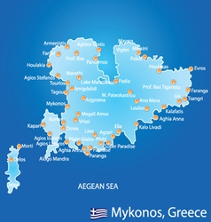 Island of Mykonos in Greece map vector image