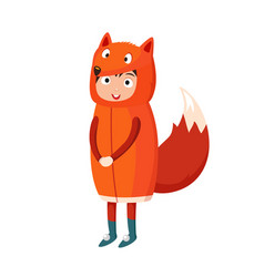 Kid fox costume festival superhero character vector
