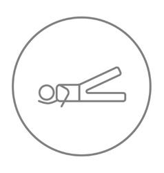 Man lying and lifting leg line icon vector