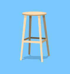 Ocher wooden bar stools with seats isolated on vector