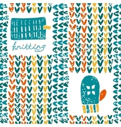 Pattern with knitting accessories and mittens vector