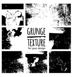 set of grunge black textures on white background vector image