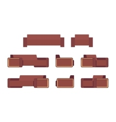 Set of modern chocolate sofa and armchair vector image