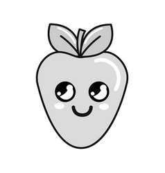 Silhouette kawaii nice thinking strawberry icon vector