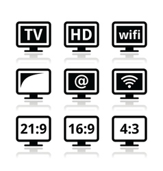 TV monitor screen icons set vector image vector image