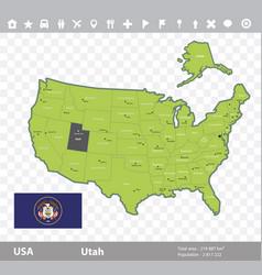 Utah flag and map vector