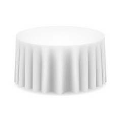 White round table with tablecloth on white vector