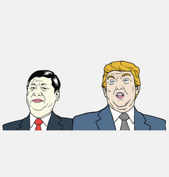 xi jinping and donald trump vector image
