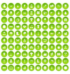 100 farming icons set green vector