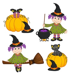 Set of isolated halloween witch and black cat vector