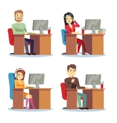 Different people characters women and men working vector image