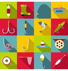 Fishing tools items icons set flat style vector