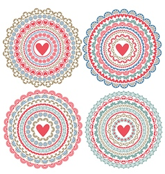 set of isolated mandalas on Valentines Day vector image