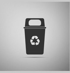 Recycle bin flat icon on grey background vector