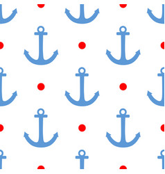 Tile sailor pattern with red polka dots and anchor vector
